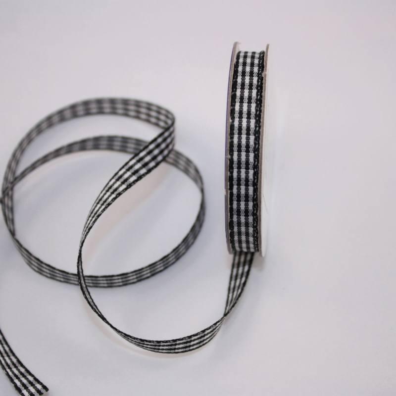 Ruban vichy en bobine noir 6 mm