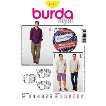 Patron N°7525 Burda Style : Chemise homme Taille : 44-54