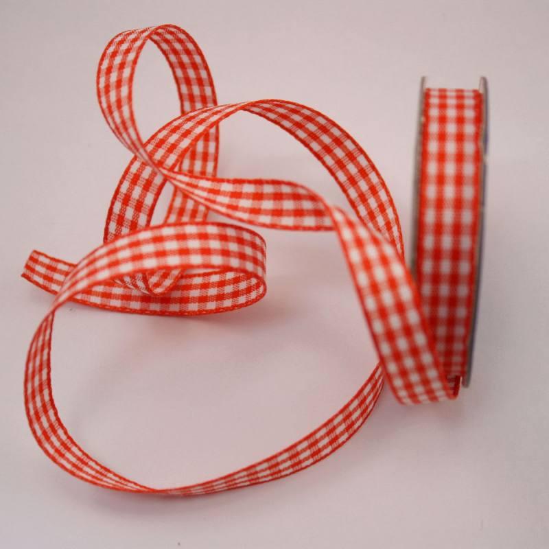 Ruban vichy en bobine orange 9 mm
