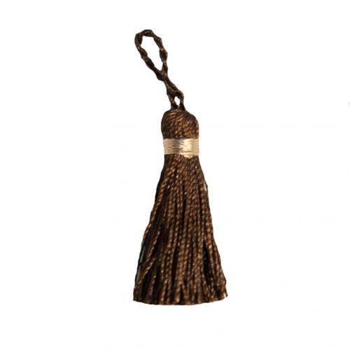 Pompon franges bicolore marron 4 cm