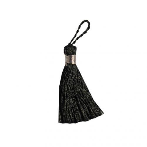Pompon franges bicolore noir 4 cm