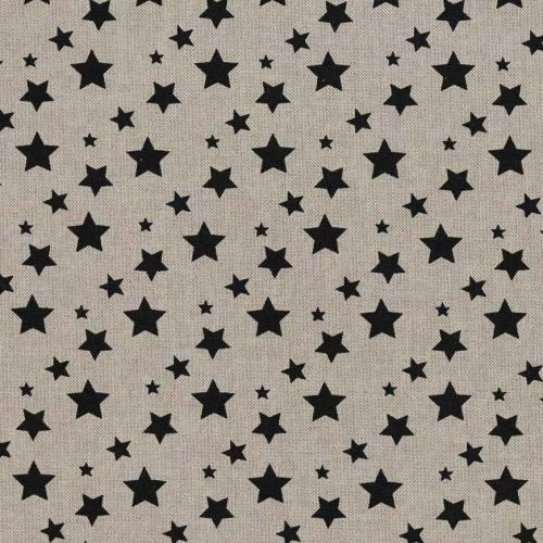 Toile coton effet lin imprimée étoiles noires