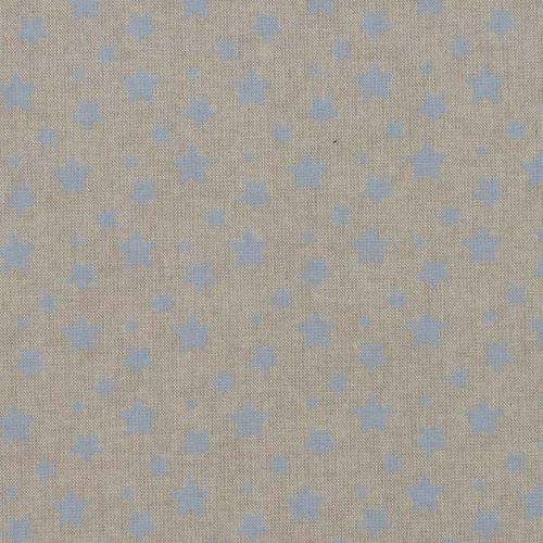 Toile coton effet lin imprimée étoiles bleues pastel