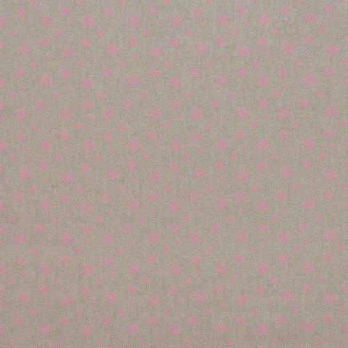Toile coton effet lin imprimée étoiles roses