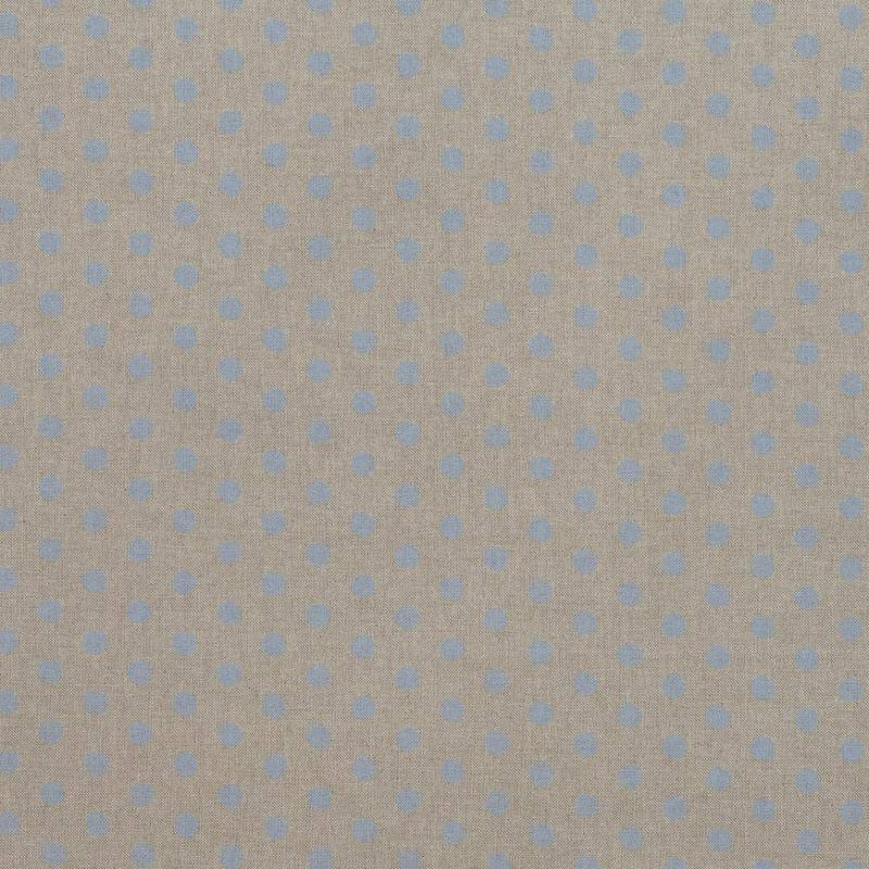 toile coton effet lin imprim e pois bleus pastel tissus. Black Bedroom Furniture Sets. Home Design Ideas