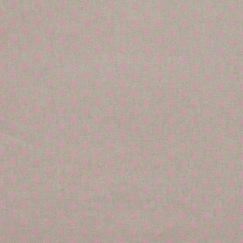 Toile coton effet lin imprimée pois roses
