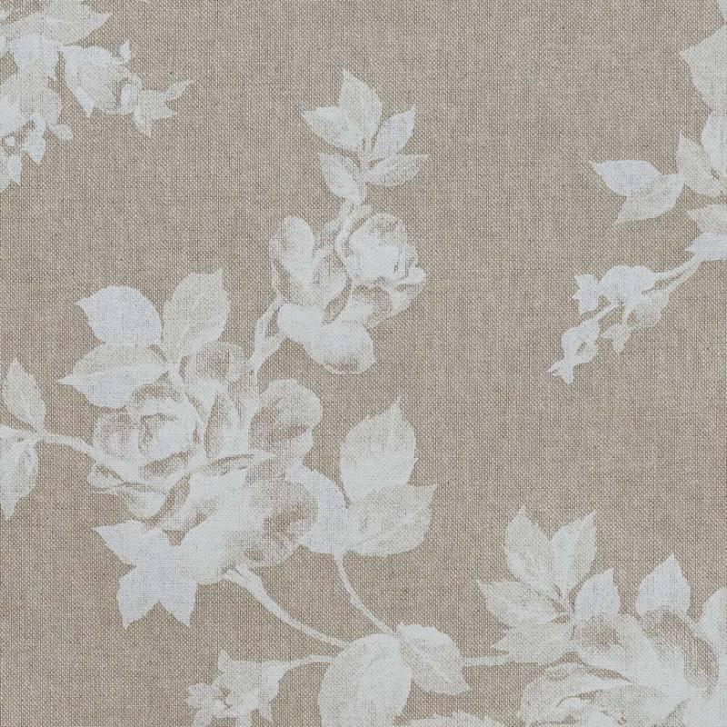 toile coton effet lin imprim e fleurs blanches tissus price. Black Bedroom Furniture Sets. Home Design Ideas