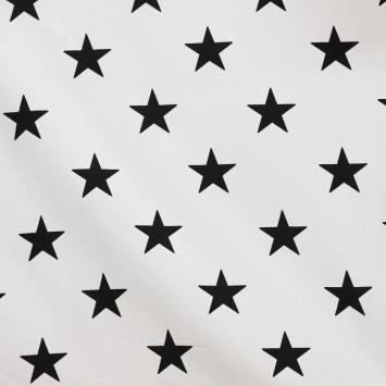 Coton blanc imprimé étoiles noires 5,5 cm