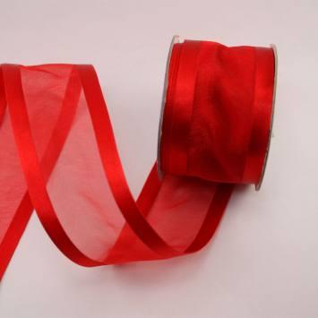 Ruban organdi fantaisie en bobine rouge 38 mm