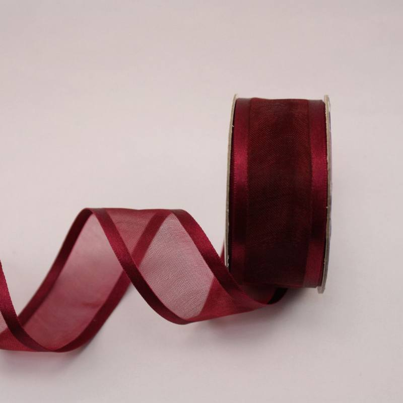 Ruban fantaisie en bobine bordeaux 25 mm
