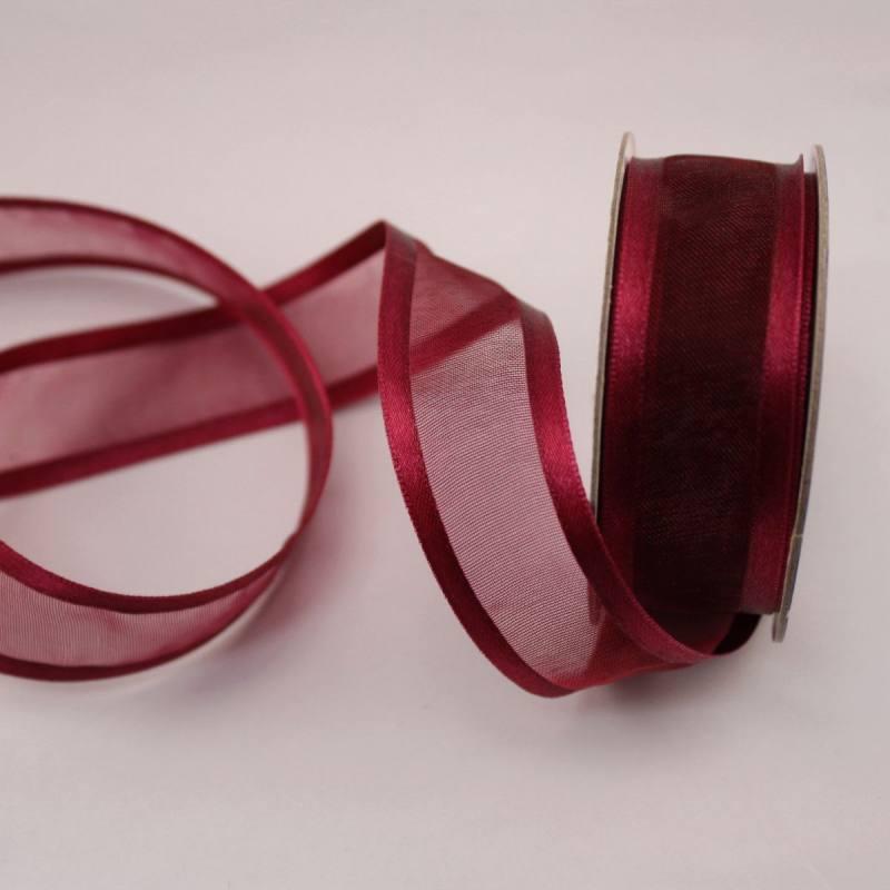 Ruban fantaisie en bobine bordeaux 20 mm
