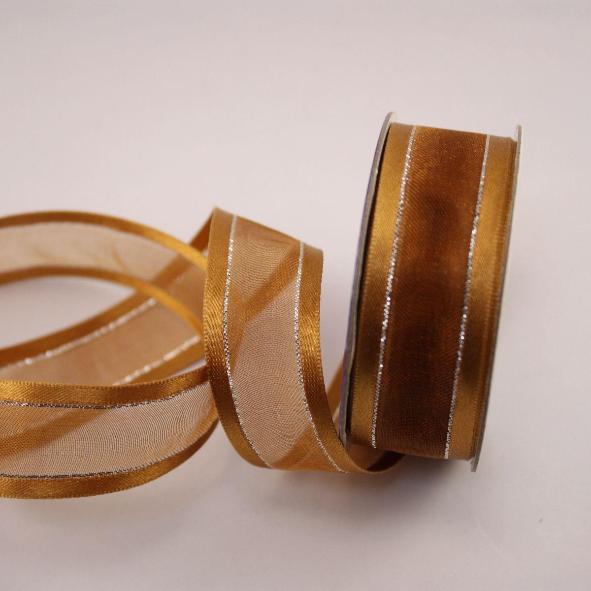 Ruban fantaisie en bobine marron 20 mm