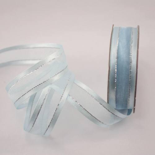 Ruban fantaisie en bobine bleu ciel 15 mm