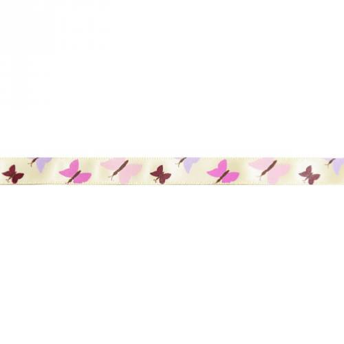 Ruban satin fantaisie en bobine ivoire motif papillon 9 mm