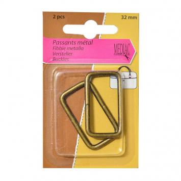 Passants métal rectangulaires bronze X2