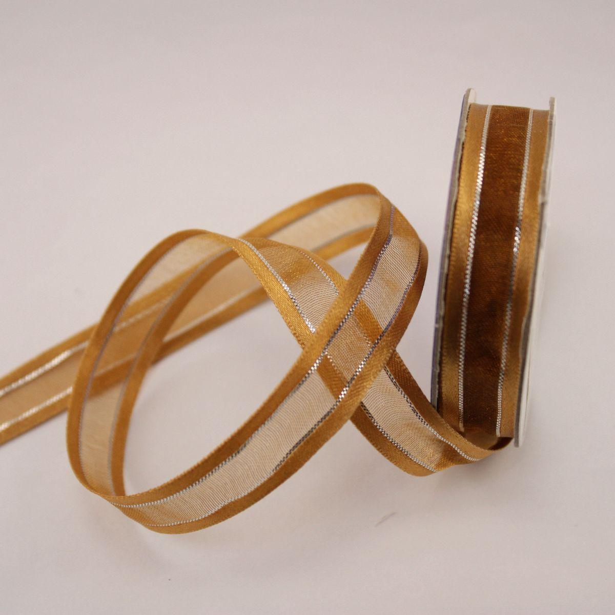 Ruban fantaisie en bobine marron12 mm