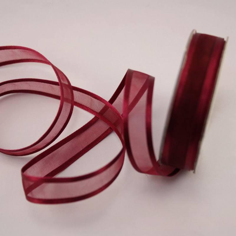 Ruban fantaisie en bobine bordeaux 12 mm
