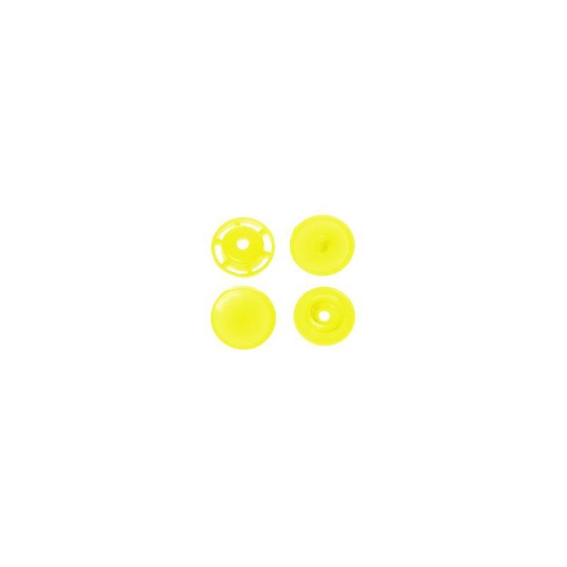 Boite de boutons-pression ronds en résine Color snaps jaune pâle