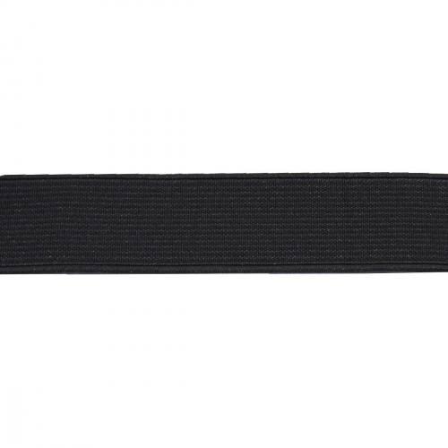 Rouleau 25m d'élastique côtelé noir 25 mm