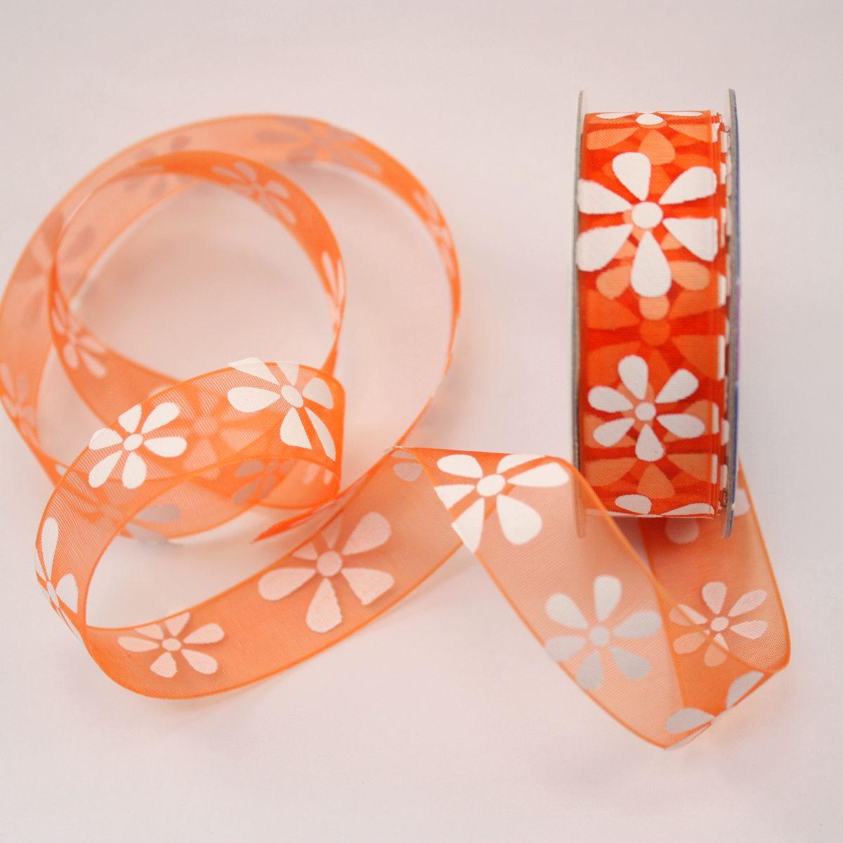 Ruban organdi fantaisie orange 15 mm