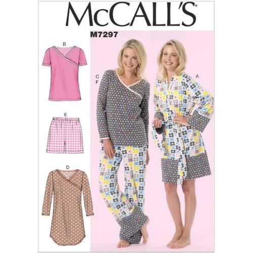 Patron Mc Call's M7297: Peignoir, Ceinture, Haut, Robe, Short et Pantalon Taille: 36-44