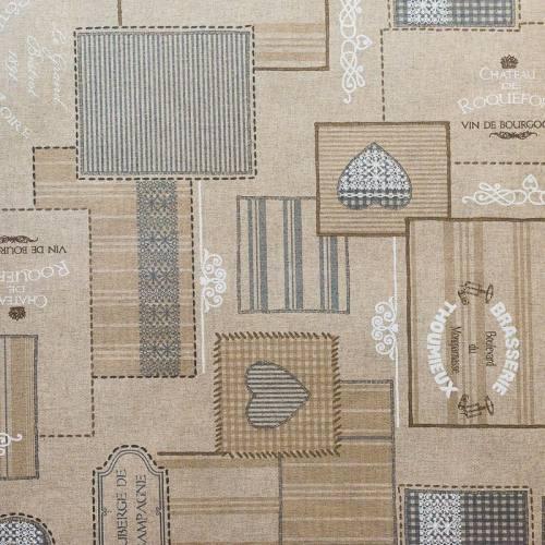 Coton enduit motifs carreaux et cœurs gris