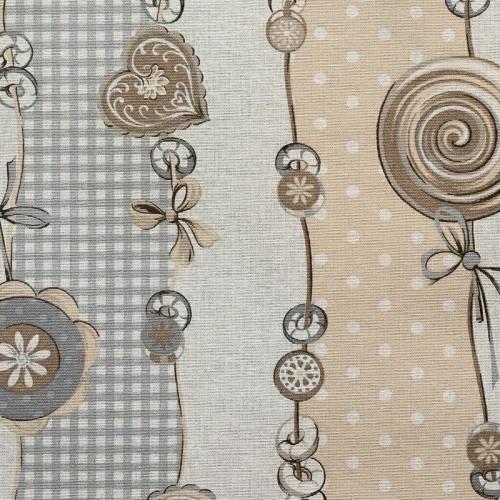 Coton enduit motifs cœurs et macarons vintages gris