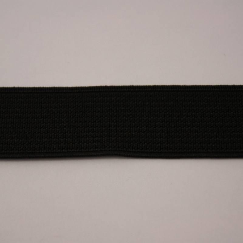 Elastique cotelé noir 20 mm