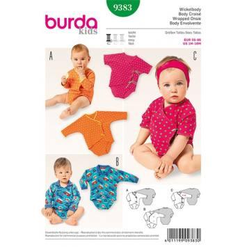 Patron Burda 9383: Body pour bébé Taille : 56 à 86 cm