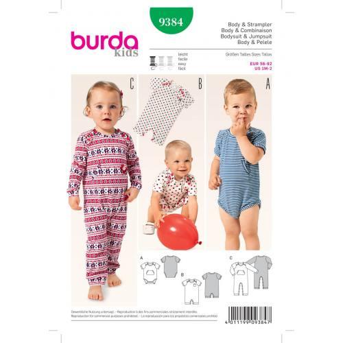 Patron Burda 9384: Body et combinaison pour bébé Taille : 56 à 92 cm