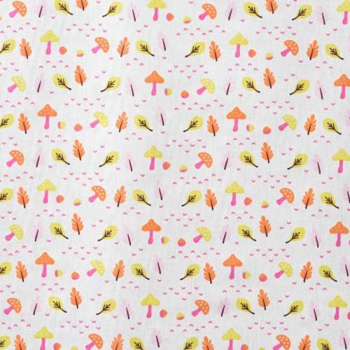 Coton enfant champignon rose et vert