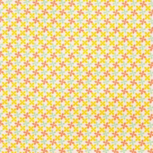 Coupons tissus jaune gris bleu etoile