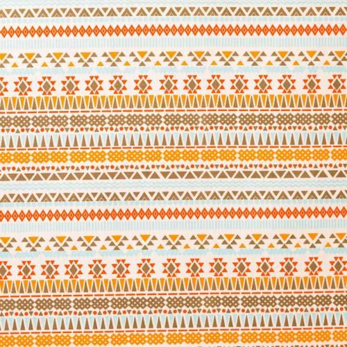 Coton blanc motifs aztèques