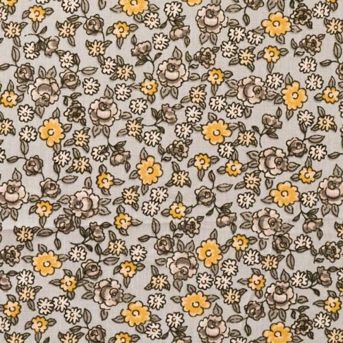 Coton fleurs sarina gris