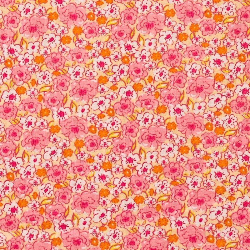 Coton fleurs kalmia roses