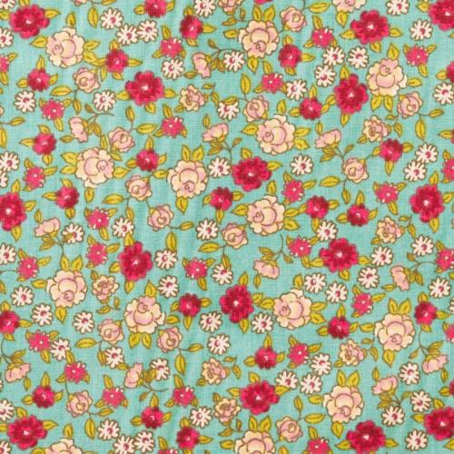 Coton bleu motif fleurs sarina