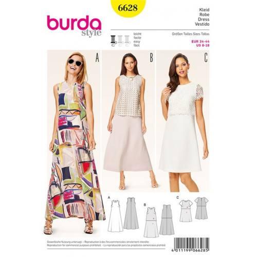 Patron Burda 6628 : Robe Taille : 34-44