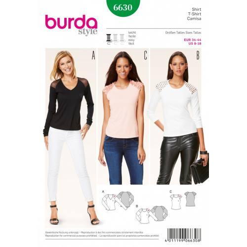 Patron Burda 6630 : T-shirt Taille : 34-44