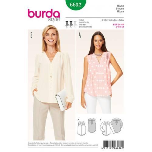 Patron Burda 6632 : Blouse Taille : 34-44
