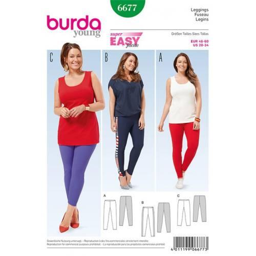 Patron Burda 6677 : Leggings Taille : 46-60