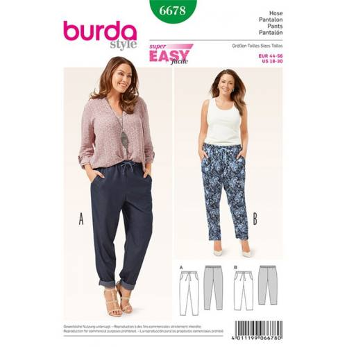 Patron Burda 6678 : Pantalon Taille : 44-56