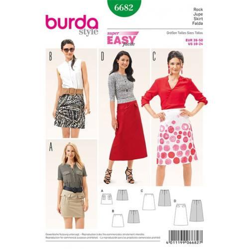 Patron Burda 6682 : Jupe Taille : 36-50