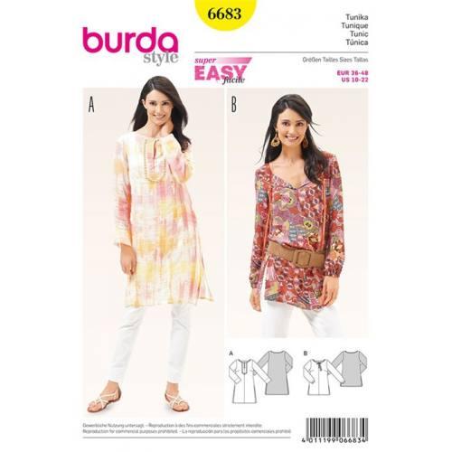 Patron Burda 6683 : Tunique Taille : 36-48