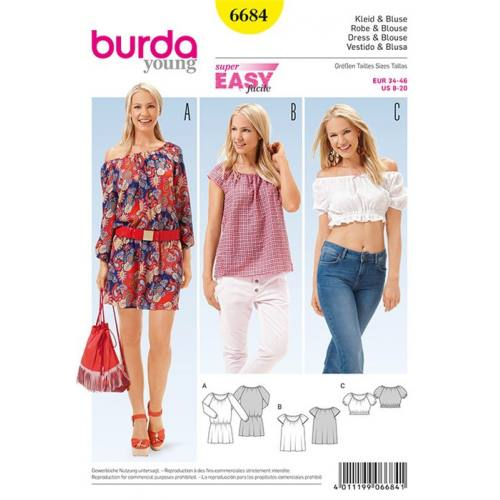Patron Burda 6684 : Robe et blouse Taille : 34-46