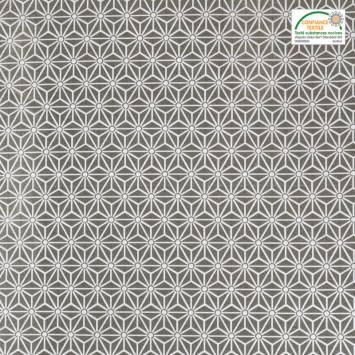 Jacquard argent motif asanoha blanc