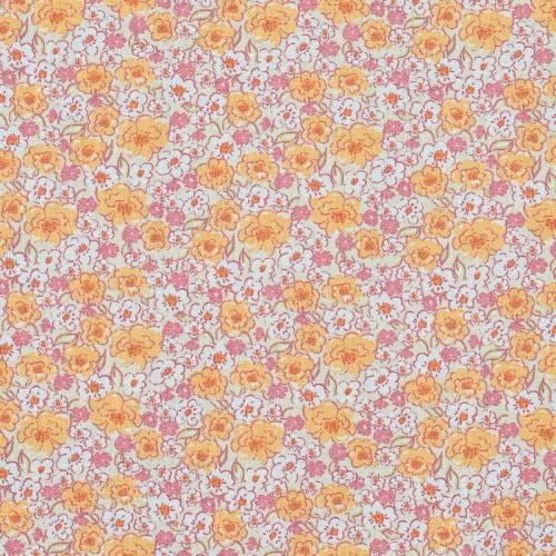 Coton fleurs kalmia oranges
