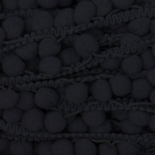 Galon pompon 15 mm gris foncé