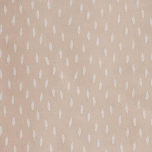 Coton beige imprimé petites plumes