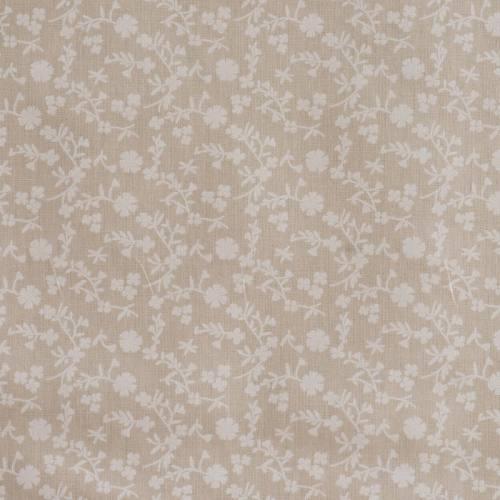 Coton taupe clair imprimé fleurs marguerites