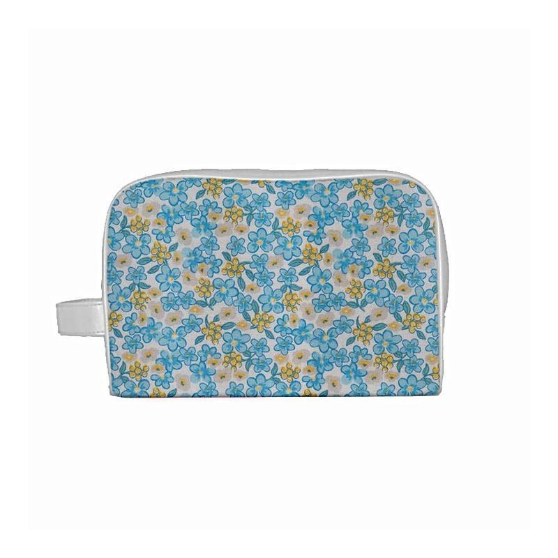 Coton fleurs lilas bleues et jaunes